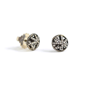 Yossi harari blacked gold and diamond lace stud earrings
