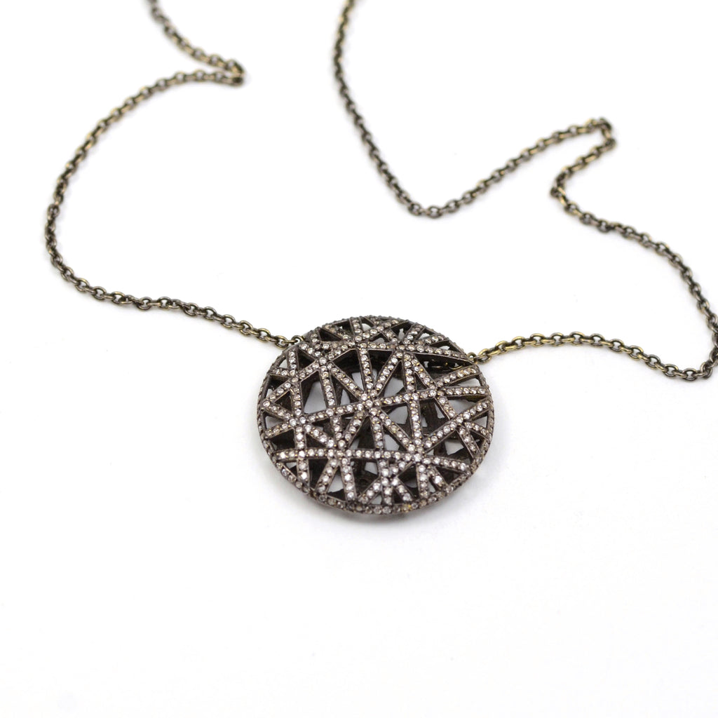 Yossi Harari blackened white gold and pave diamond lace pendant.