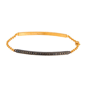 yossi harari lilah id bracelet in 18kt blackened gold with black diamonds