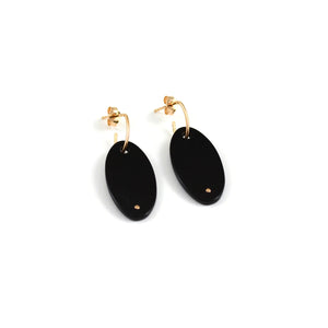 Ginnette NY ellipse earrings. black onyx and 18kt rose gold with clutch back