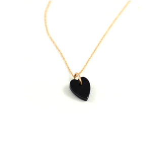 Ginette NY Angele Mini Onyx Heart On 18kt rose gold chain