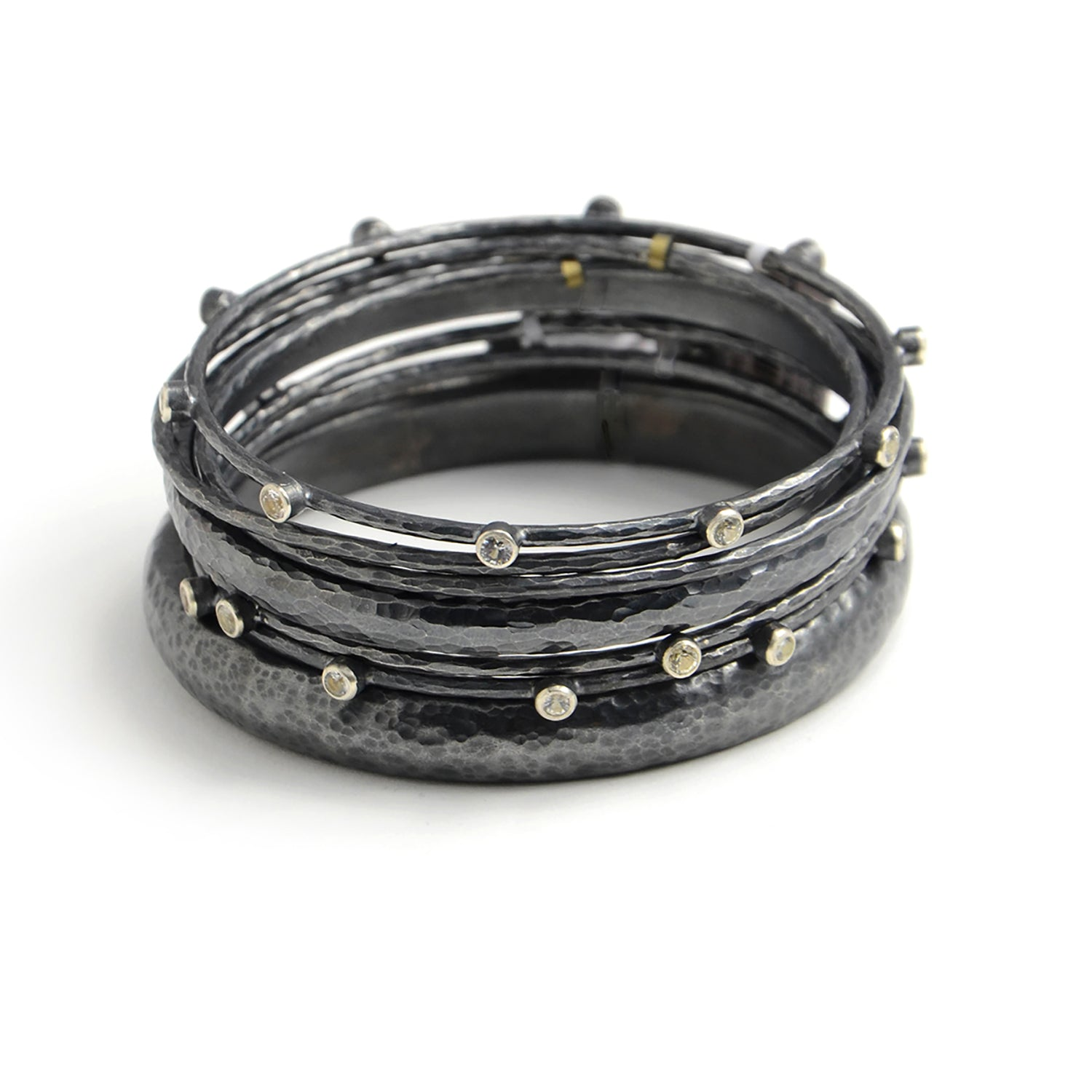 Narrow Oxidized Sterling Bangle, with or without White Sapphires