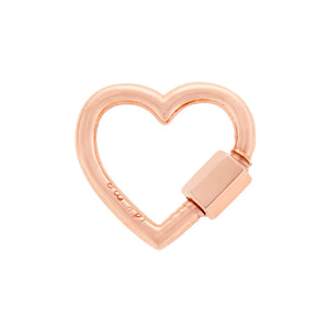 Marla Aaron lock. The baby heartlock in 14 karat rose gold. Measures 1.7cm x 1.7cm with a thickness of 2mm, closure is 4mm.