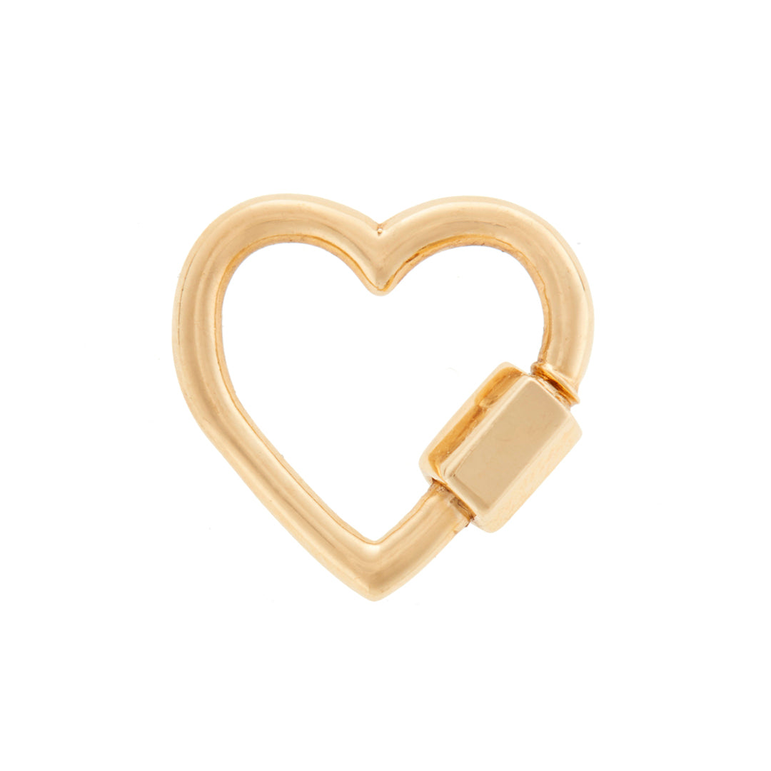 Marla Aaron lock. The baby heartlock in 14 karat yellow gold. Measures 1.7cm x 1.7cm with a thickness of 2mm, closure is 4mm.