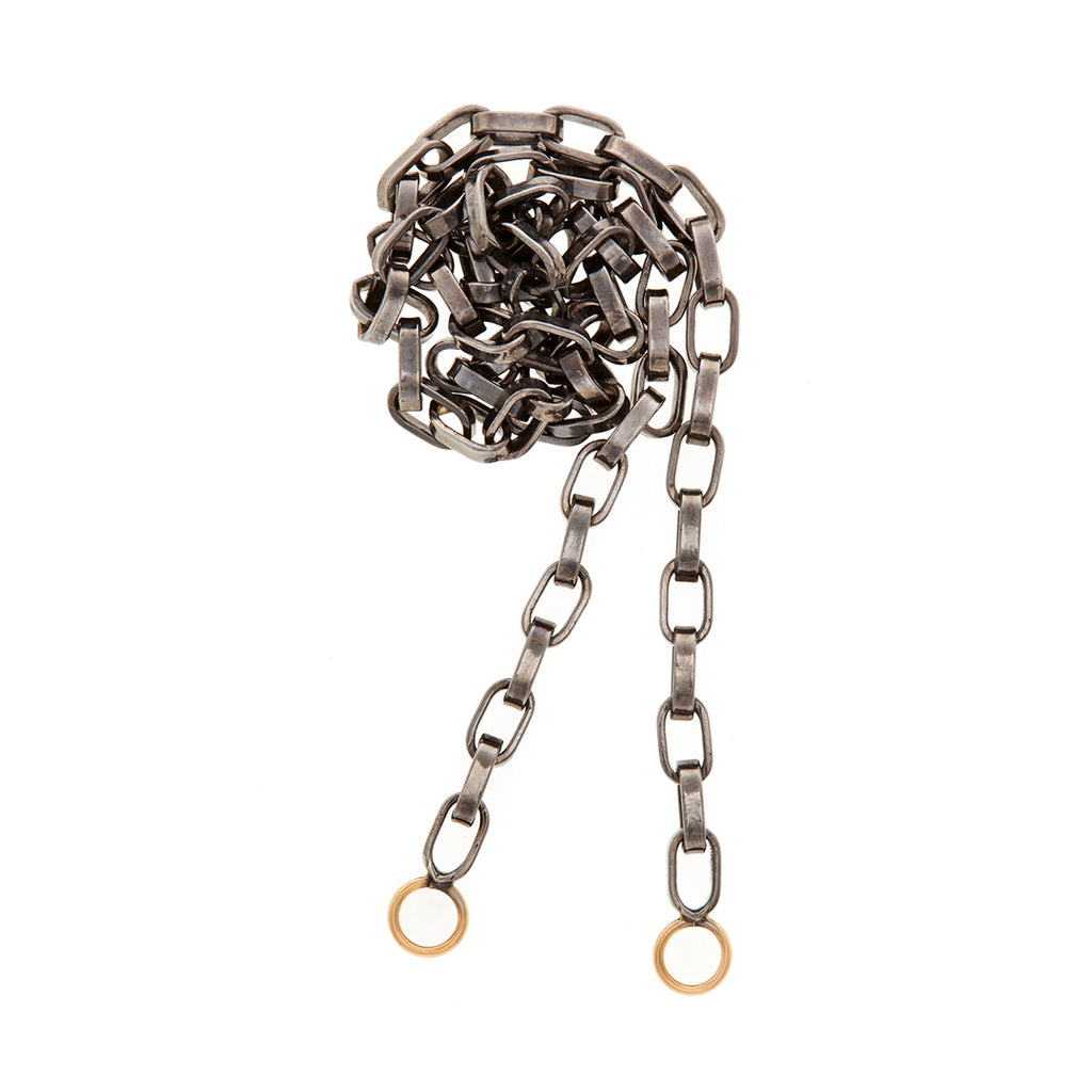 Marla Aaron oxidized silver biker chain with yellow gold loops.