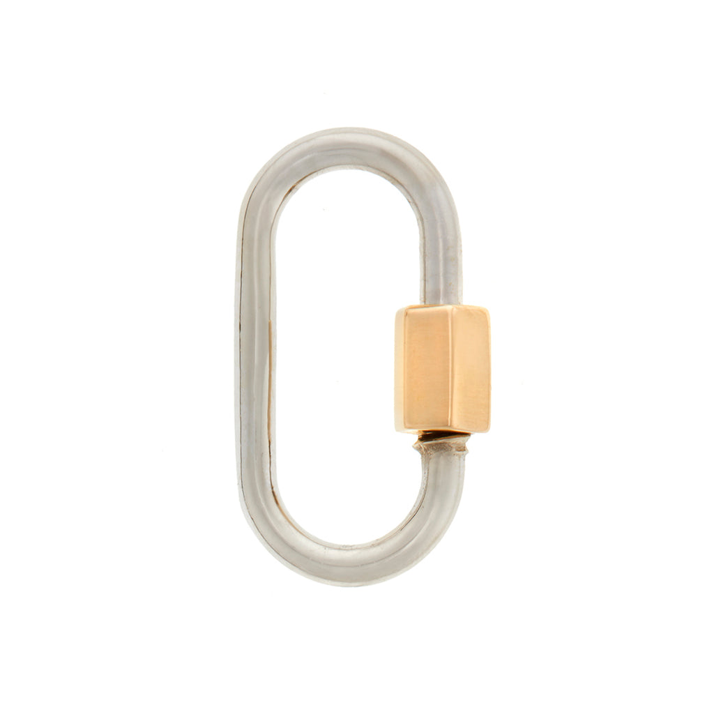 marla Aaron medium lock in white gold with yellow gold closure