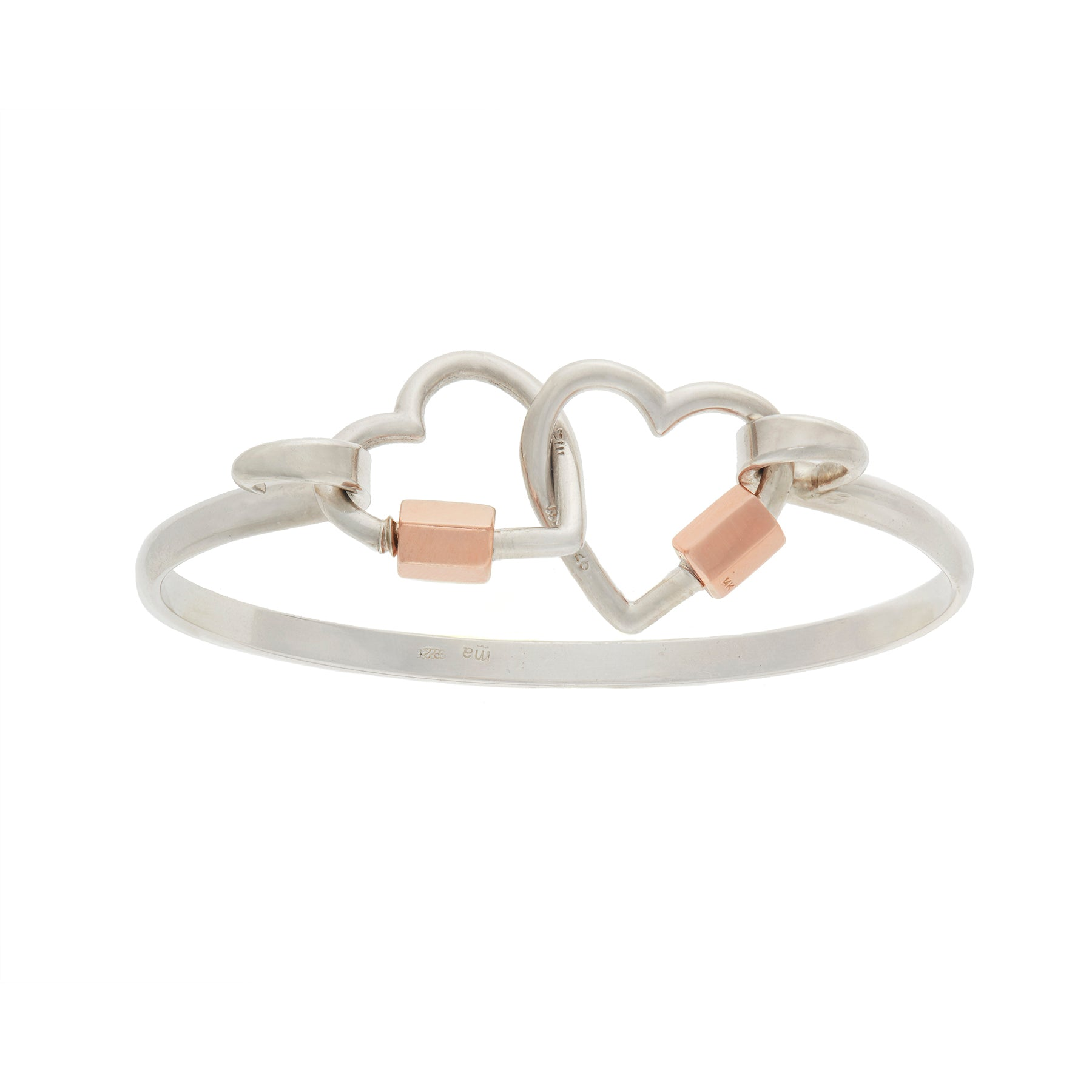 marla aaron sterling silver hardhook bracelet with 2 silver and yellow gold heart locks.