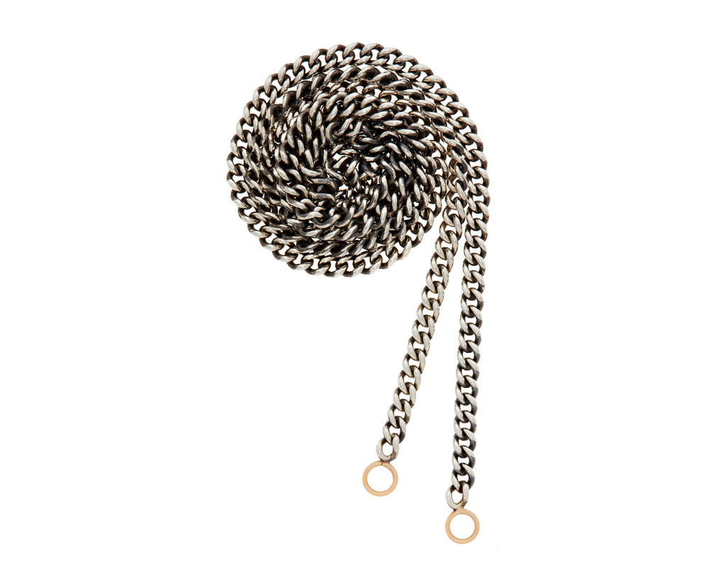 Marla Aaron heavy curb chain in silver with yellow gold loops