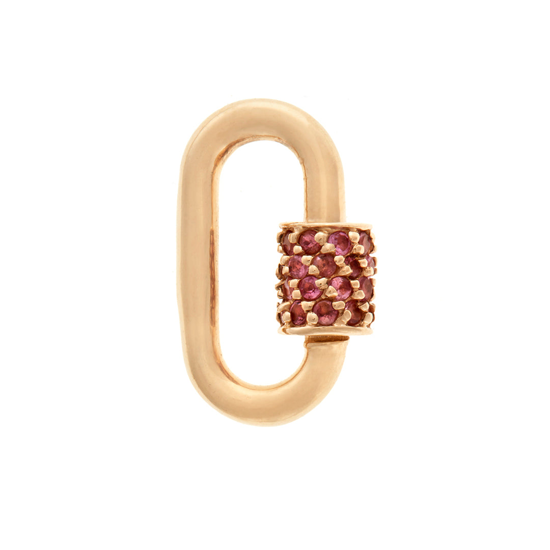 marla Aaron stoned baby lock with pink sapphires in 14 karat yellow gold