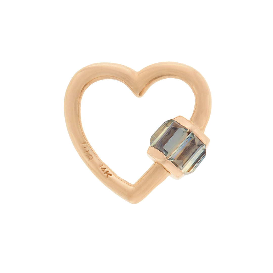 marla Aaron total baguette baby heart lock with grey Songea sapphires