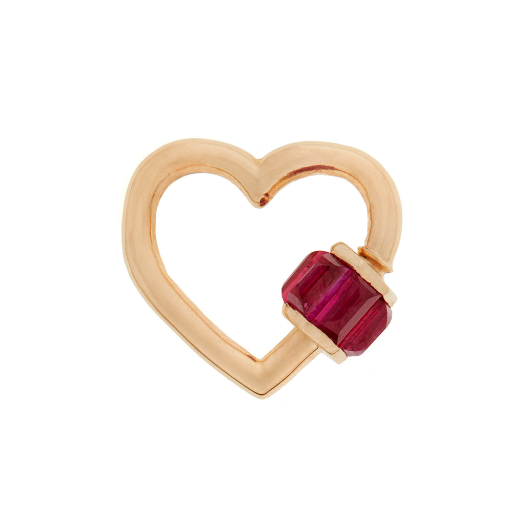 marla Aaron total baguette baby heart lock with rubies