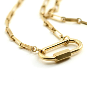 "The Meander chain is a more delicate version of the Greek Key chain. Note the alternating smooth and patterned links. This chain works well with most locks. 14kt Yellow Gold. Chain length approximately 24"". Each link measures approximately 4.0mm X 12.0mm. Also available in a combination of yellow, rose and white gold. Please inquire. Marla Aaron chain shown with Regular gold lock."