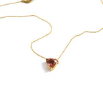 Triangular Peach Tourmaline Pendant Necklace