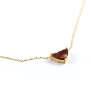 Triangular Pink Tourmaline Pendant Necklace