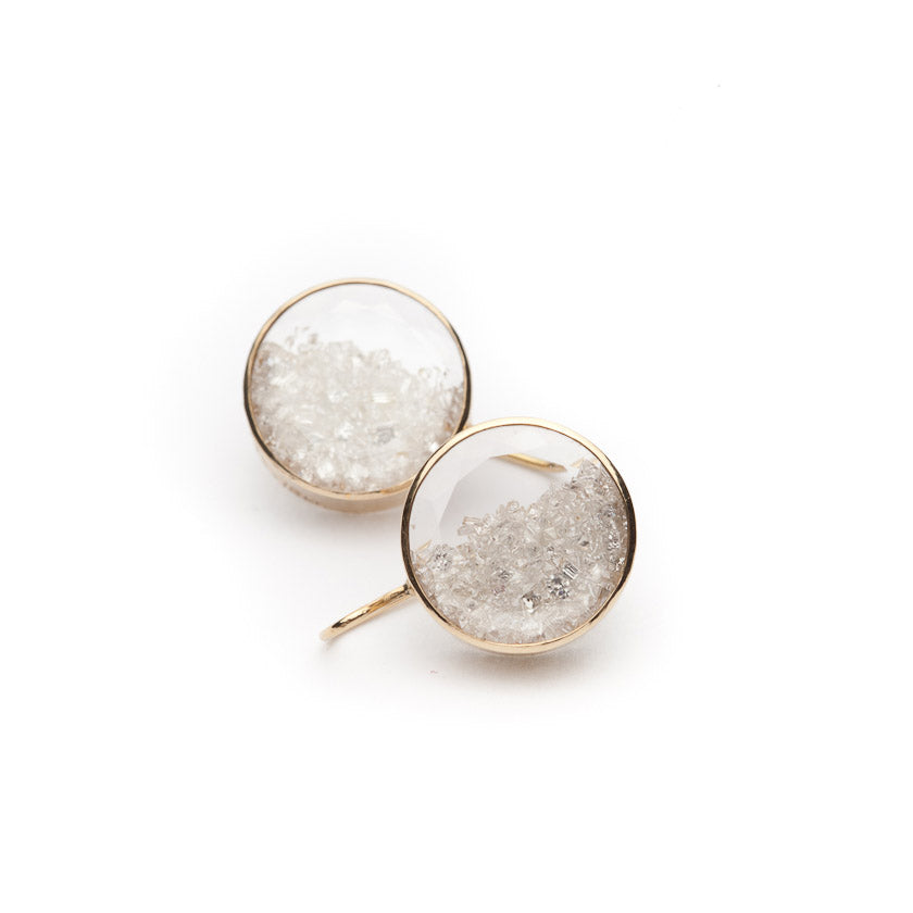 moritz glik diamond shake earrings in 18 karat yellow gold.