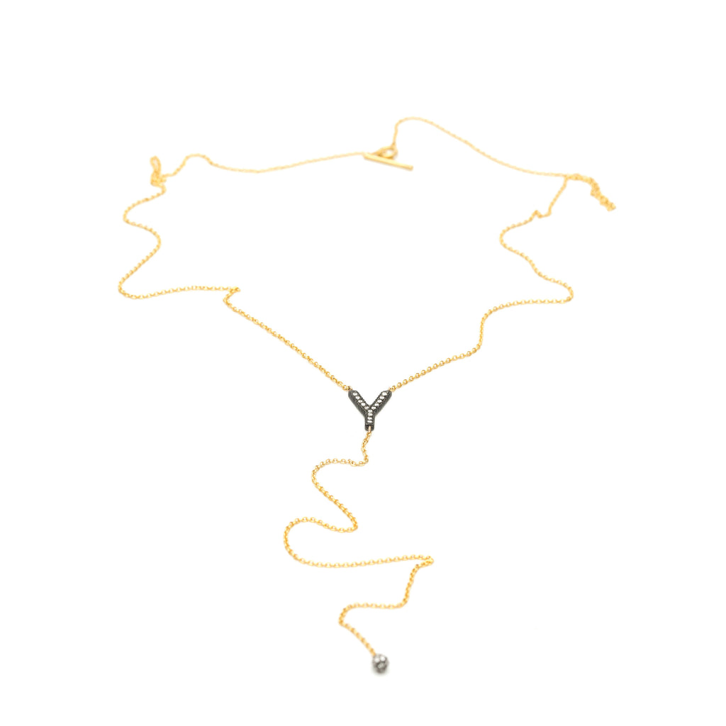 Yossi Harari Lilah Lasso Style necklace 24 kt gold, blackened silver and diamonds.