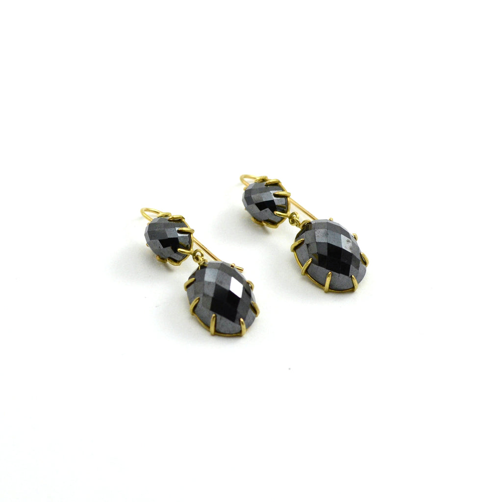 Faceted Hematite Double Drop Earrings