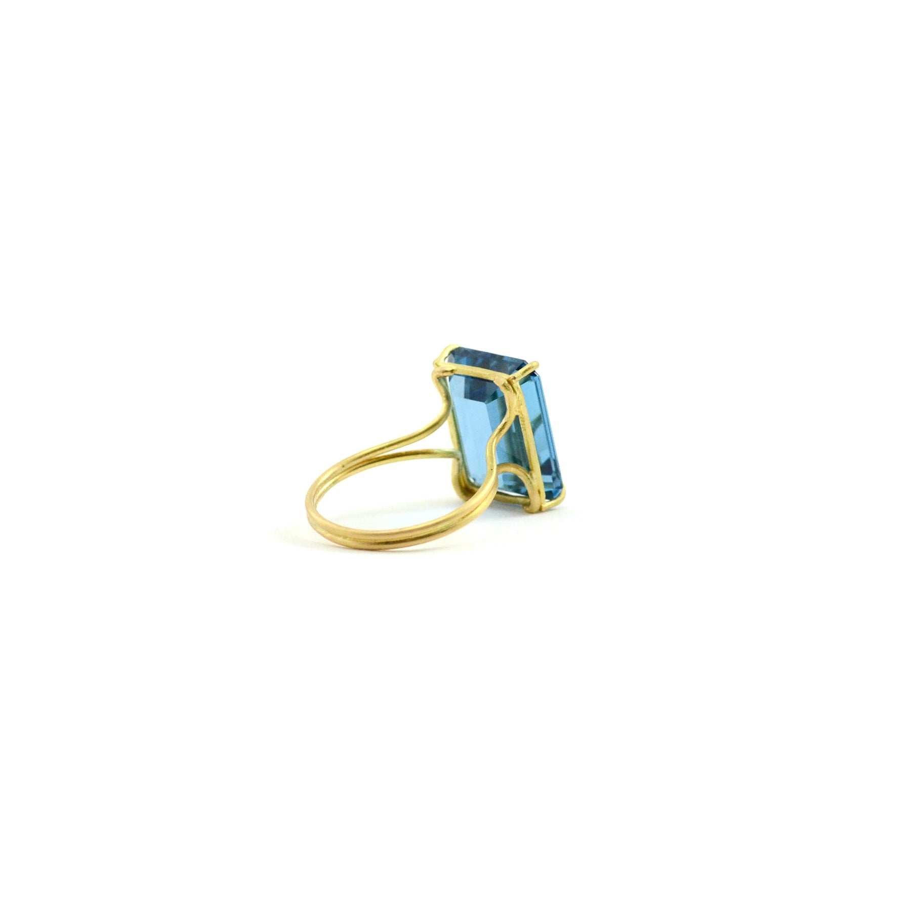 Emerald Cut London Blue Topaz Ring