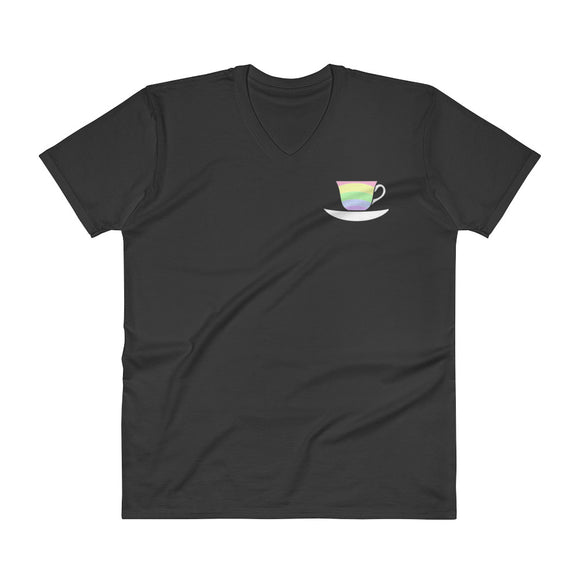 Pastel Rainbow Teacup V-Neck T-Shirt