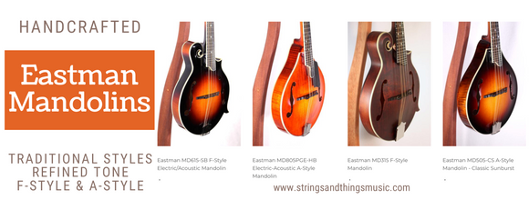 Eastman Mandolins including F-Style & A-Style Mandolins, electric mandolins, and more are for sale here at New Hampshire's Eastman dealer, Strings & Things Music in tax-free Concord, NH!