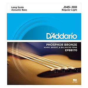 D'Addario EPBB170 Long Scale Phosphor Bronze Acoustic Bass Strings 45-100