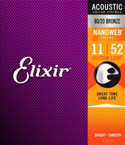Elixir Nanoweb 80/20 Bronze Custom Light Acoustic Guitar Strings 11-52