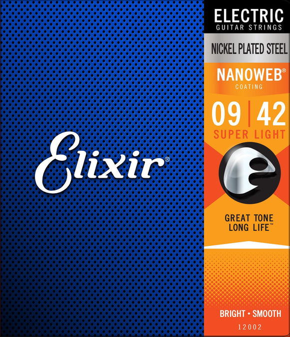 Elixir Nanoweb Nickel Plated Steel Super Light Electric Guitar Strings 09-42