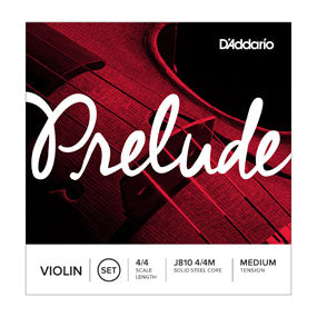D'Addario J810 4/4M Prelude Violin String Set, 4/4 Scale, Medium Tension