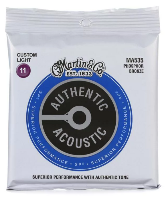 Martin MA535 Authentic Acoustic SP Custom Light Phosphor Bronze Acoustic Guitar Strings