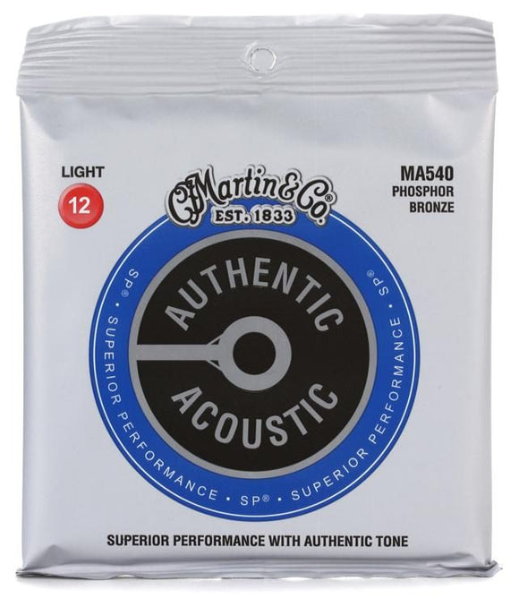 Martin MA540 Authentic Acoustic SP Light Phosphor Bronze Acoustic Guitar Strings
