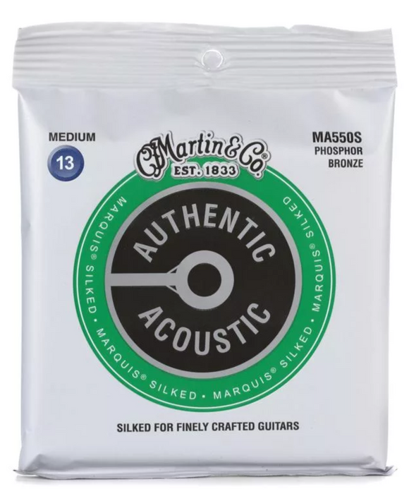 Martin MA550S Authentic Acoustic Marquis Silked Medium Phosphor Bronze Acoustic Guitar Strings