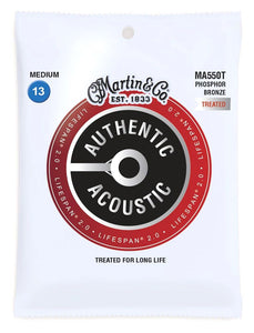 Martin MA550T Authentic Acoustic Lifespan Medium Phosphor Bronze Acoustic Guitar Strings