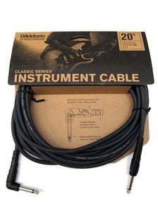 D'Addario Classic Series 20ft Right Angle Instrument Cable