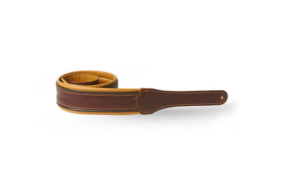 Taylor Ascension Guitar Strap, Cordovan/Black/Butterscotch Leather 2.5