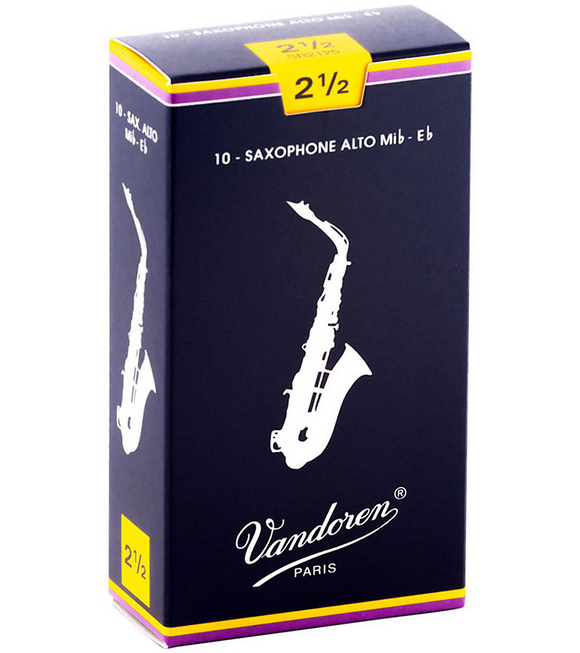 Vandoren Traditional Alto Saxophone Reeds Box of 10 - 2.5