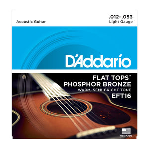 D'Addario EFT16 Flat Tops Phosphor Bronze Acoustic Guitar Strings .012-.053