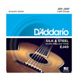 D'Addario EJ40 Silk & Steel Folk Acoustic Guitar Strings 11-47