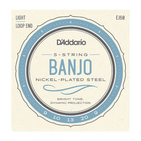 D'Addario EJ60 Nickel Light 5-String Banjo Strings 9-20
