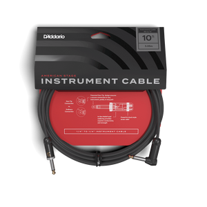 D'Addario American Stage Instrument Cable 10ft Right Angle to 1/4""