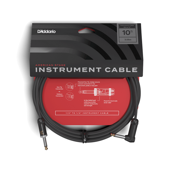 D'Addario American Stage Instrument Cable 10ft Right Angle to 1/4