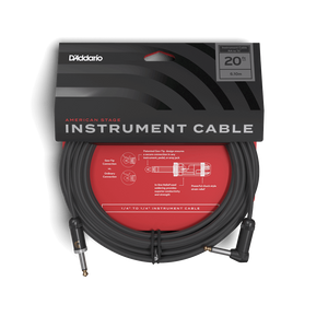 D'Addario American Stage Instrument Cable 20ft Right Angle to 1/4""