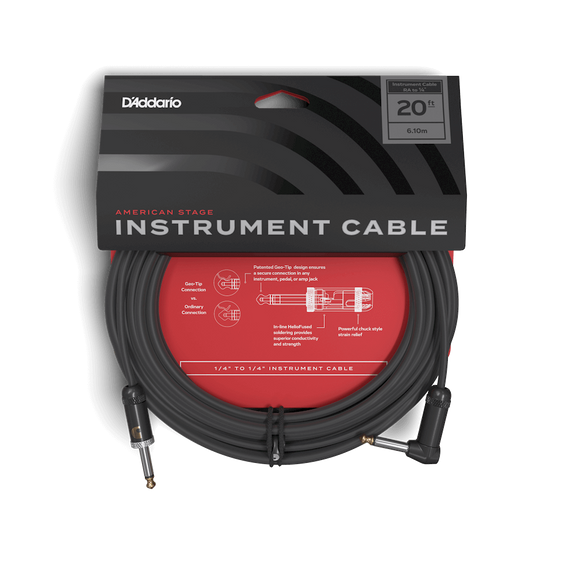 D'Addario American Stage Instrument Cable 20ft Right Angle to 1/4