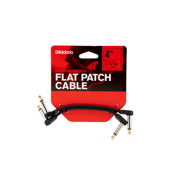 D'Addario Flat Patch Cable, 4in Offset Right Angle, Twin PK