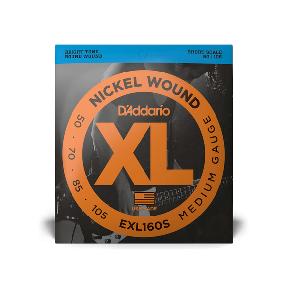 D'Addario EXL160S Nickel Wound Medium Short Scale Bass Strings 50-105