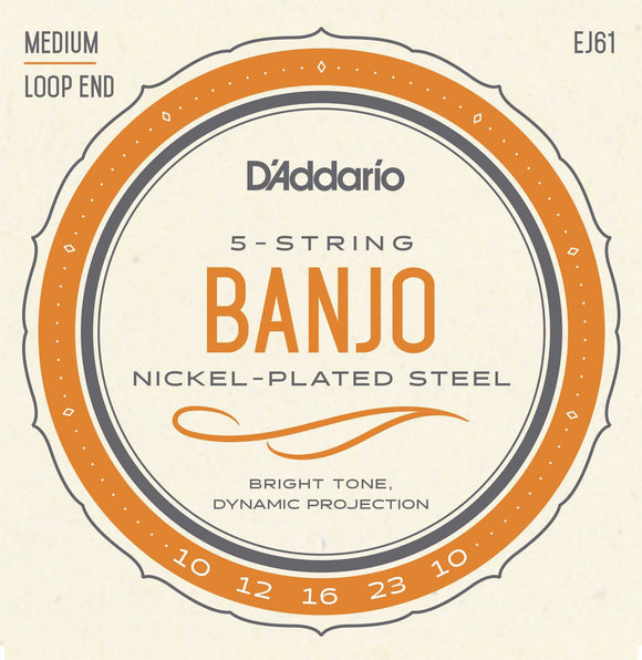 D'Addario EJ61 Nickel Medium 5-String Banjo Strings 10-23