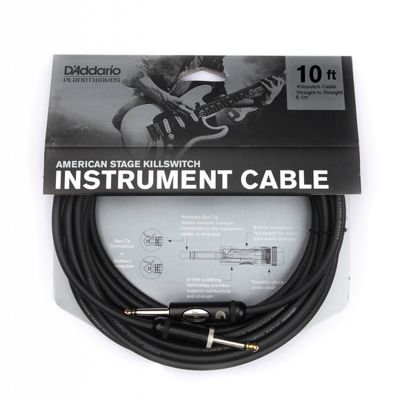 D'Addario American Stage Killswitch Instrument Cable 10ft