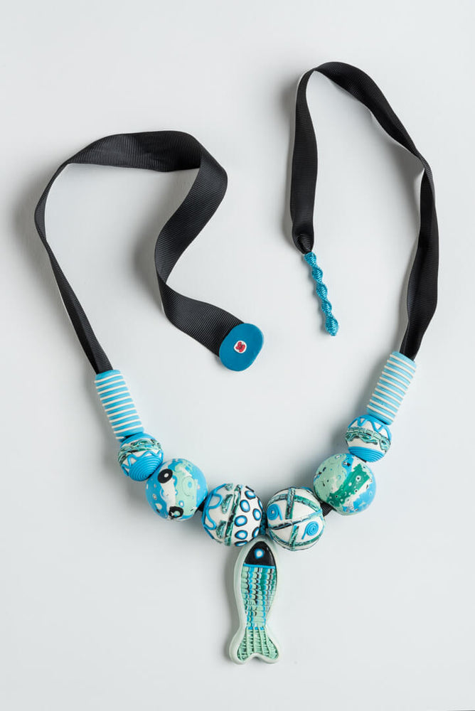 Trart Ribbon Necklace Black Blue