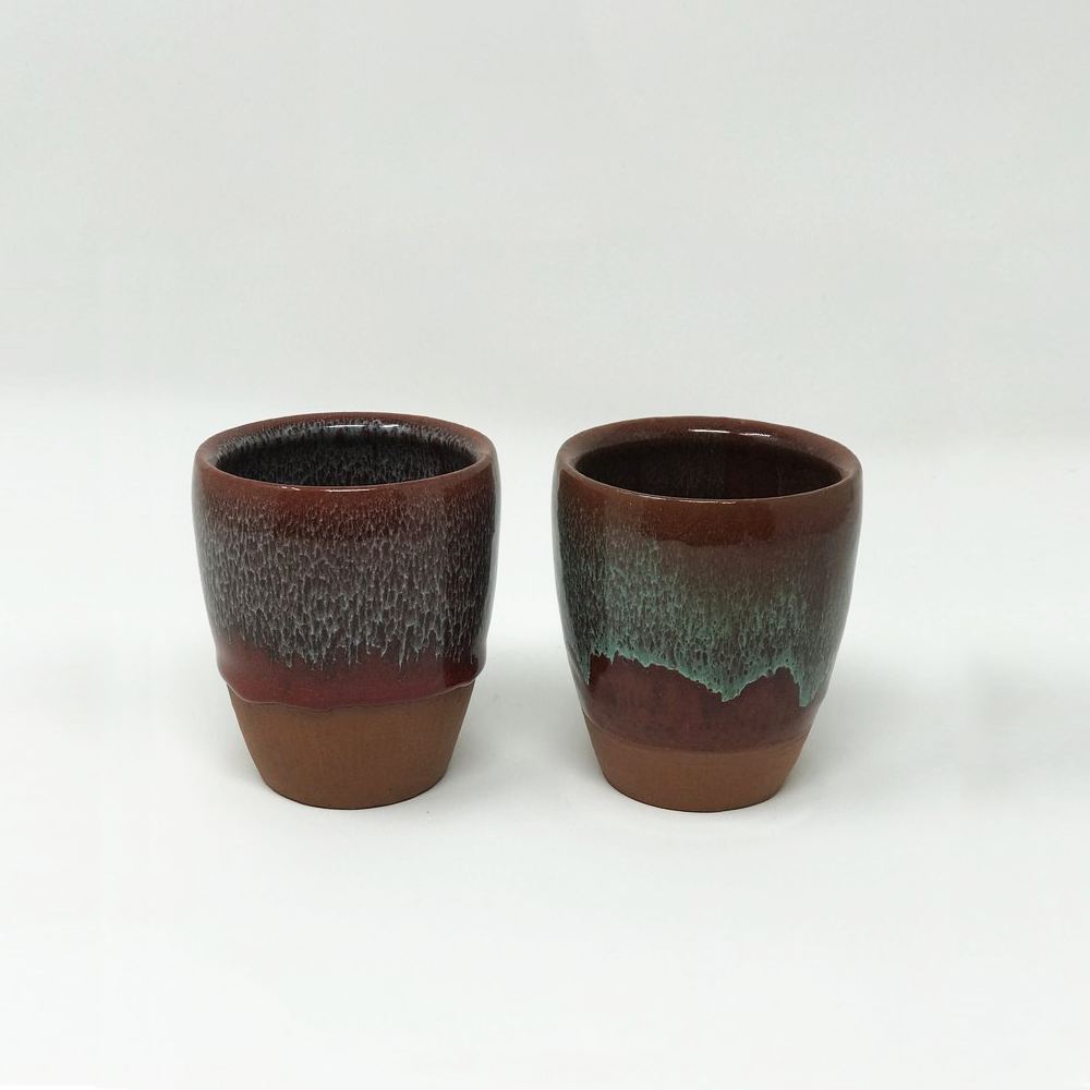 Terracotta and Enamel Glass Set - Blue