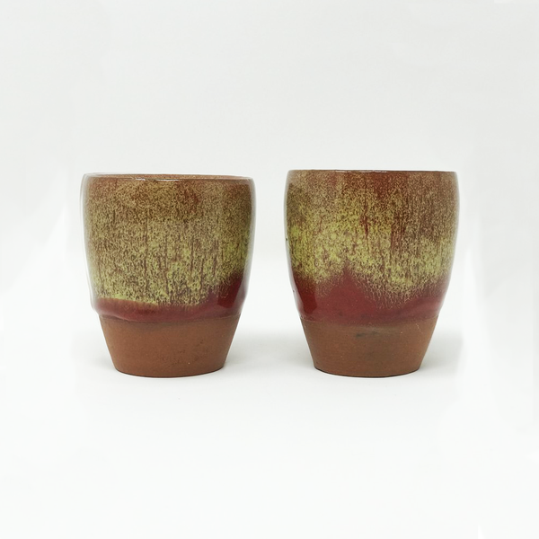 Terracotta and Enamel Glass Set - Yellow