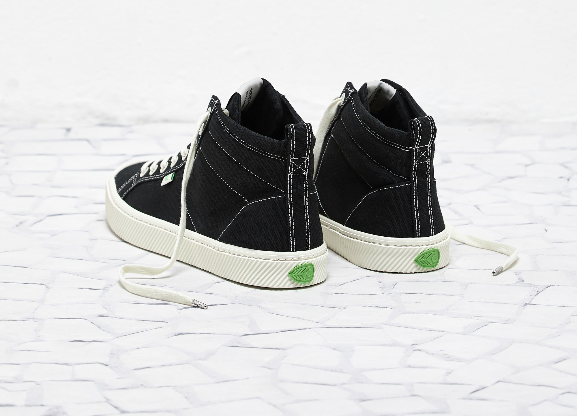 OCA High Washed Black Canvas Contrast Thread Sneaker Women